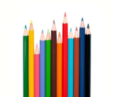 Colour pencils isolated on white background close up Stock Photo - 9784891