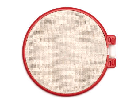tightening: The embroidery hoop is on the white background