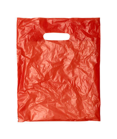 close up of a orange plastic bag on white background with clipping path Stock Photo - 10080278
