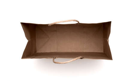 brown paper bag isolated on a white background. Banco de Imagens