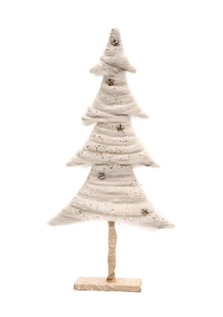 Christmas white tree over a white background photo