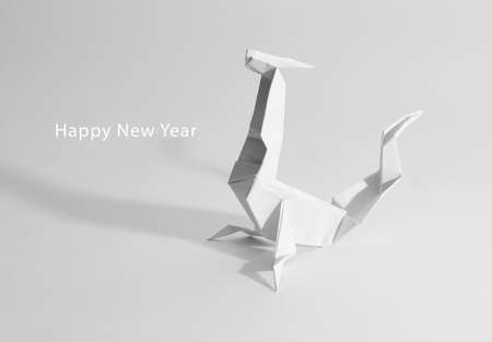 New Year greeting card. origami photo