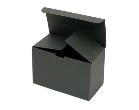 Open black empty paper box standing on white background photo