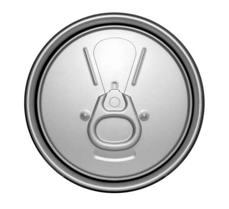 lata de refresco: Parte superior de un refresco sin abrir sobre un fondo blanco