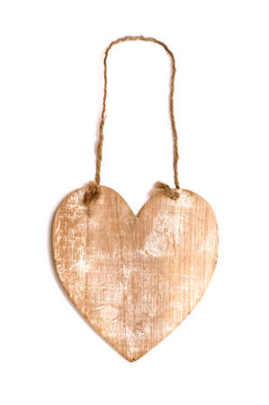 wooden heart with rope isolated on white Stock Photo - 11125695
