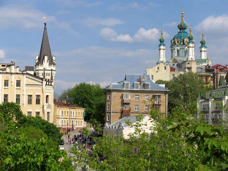 St. Andrews Church and tower of the king Richard Kiev, Ukraine photo