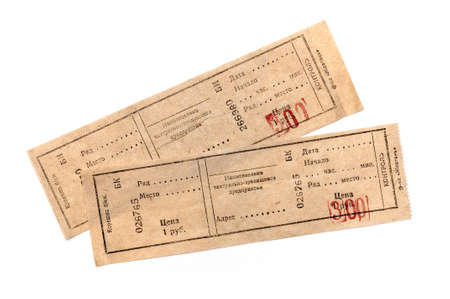 two tickets on white background photo
