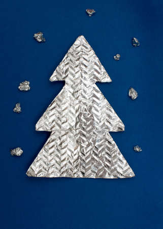 Christmas tree made ??out of foil photo