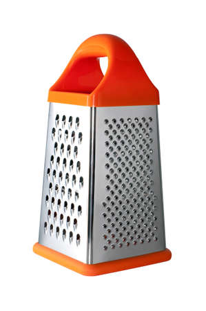 Metal grater with handle isolated on white background photo