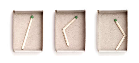 matchbox: Matchbox and last match isolated on white background Stock Photo