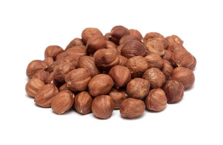 hulled: Hazelnuts Isolated on White Background