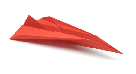 Paper airplane on white background photo
