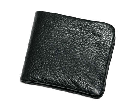 Black leather new wallet isolated over white background photo