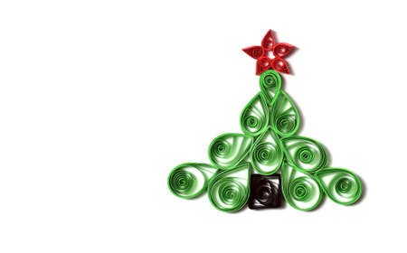 quilling: Handmade Christmas tree cut out from paper  Quilling  Stock Photo