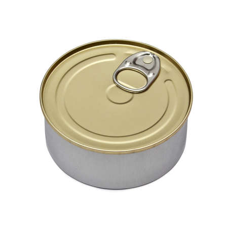 Single metal can isolated on white background photo
