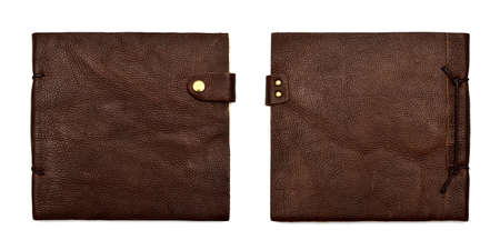 handmade leather brown notebook isolated on white photo
