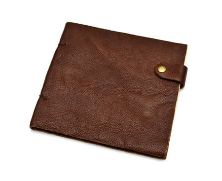 handmade leather brown notebook isolated on white Stock Photo - 17048320