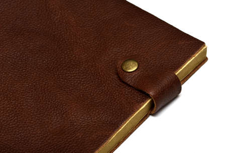 handmade leather brown notebook isolated on white Stock Photo - 17048321