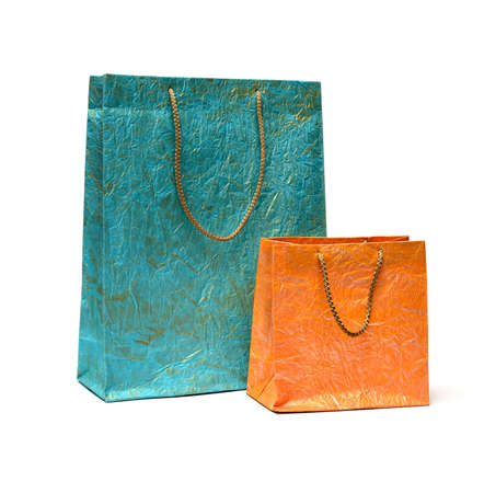 Two paper shopping bags on white background photo