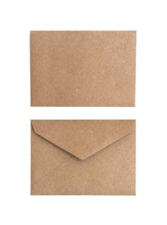 two brown envelope on a white background Stock Photo
