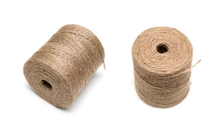 hasp: isolated image of brown hemp rope roll