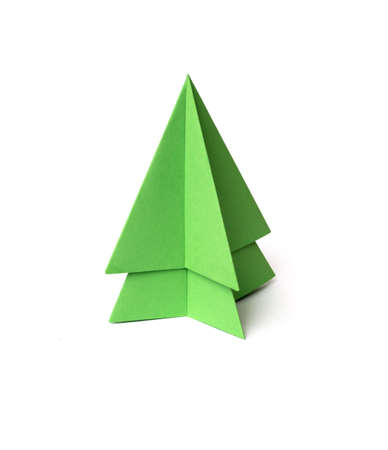 origami christmas tree on white background photo