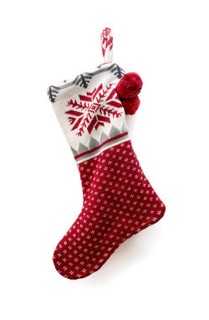 Christmas knitted sock on white background
