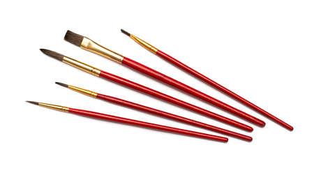 Set of brushes for painting, isolated on white photo