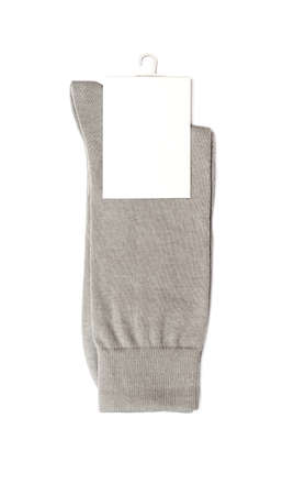 white socks: gray socks on a white background Stock Photo