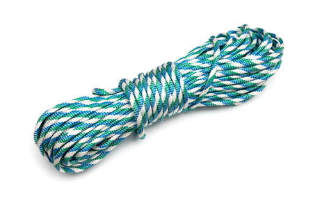 coiled rope: Coiled Nylon Rope isolated on white background