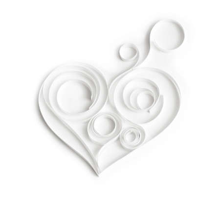 Quilling paper hearts. Background with hearts for Valentine's day. Stock Photo - 36435703