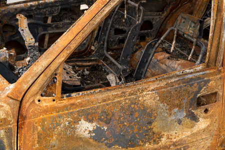 burnt out: Burnt out car interior