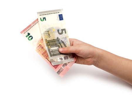 banconote euro: Euro banconote in mani dei bambini