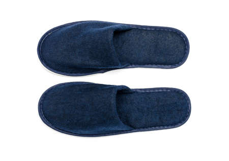 houseshoe: A pair of blue slippers on a white background