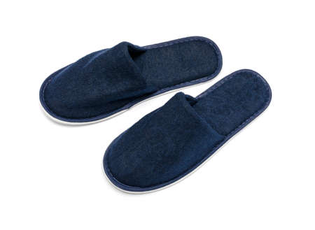 terrycloth: A pair of blue slippers on a white background