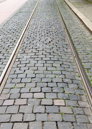 cobbled: Fragment of a cobbled road useful as texture or background Stock Photo