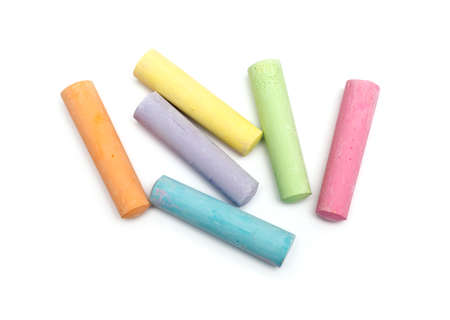 white chalks: chalks in a variety of colors arranged on a white background Stock Photo