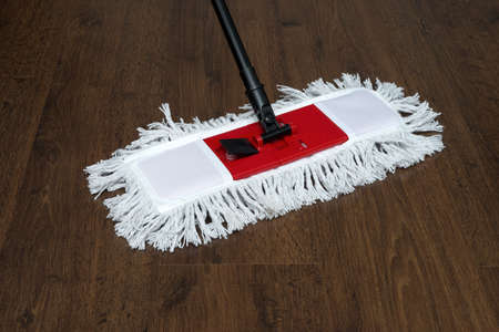 homemaker: The mop on the parquet floor during cleaning