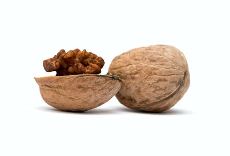 circassian: walnuts close up isolated on white background Stock Photo