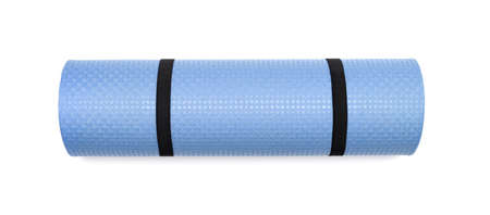 closed club: Blue yoga mat for exercise, isolated on white background. Stock Photo