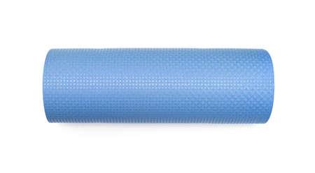 yoga mat: Blue yoga mat for exercise, isolated on white background. Stock Photo