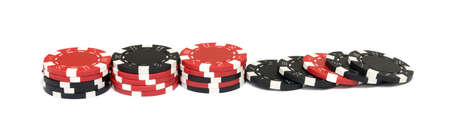 poker chips: The casino chips isolated on white background Stock Photo