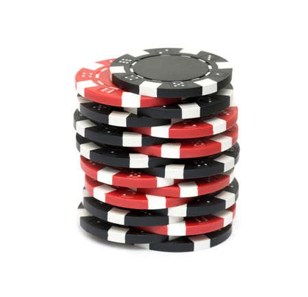 gambling counter: The casino chips isolated on white background Stock Photo