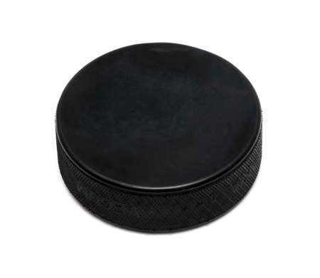Hockey puck on white background Stock Photo