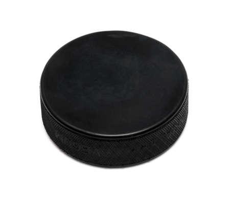 attacker: Hockey puck on white background Stock Photo