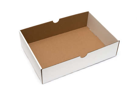 lading: Empty cardboard box on a white background