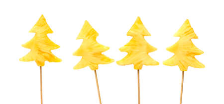 nailed: Fresh, raw pineapple chunks nailed on wooden stick isolated over white background Stock Photo