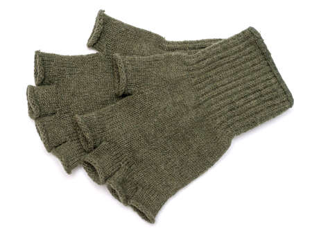 knitten: New Green Knit Wool Gloves isolated on white background