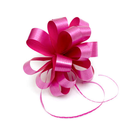 Big pink ribbon bow isolated on white
