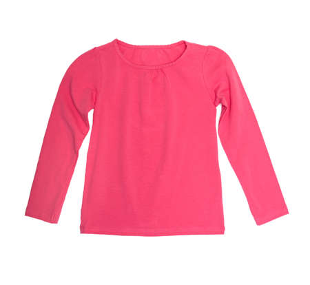 childrens wear: Childrens wear - pink long sleeve isolated on the white background